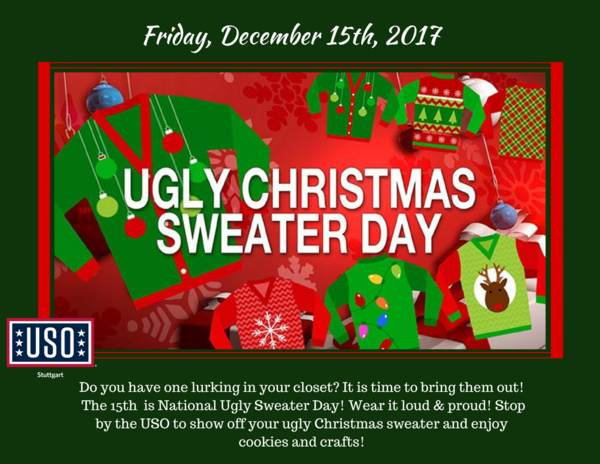 Green Day Christmas Sweater.National Ugly Christmas Sweater Day Uso Stuttgart
